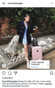 HerschelSupply example of influencer product tag