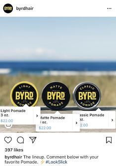 ByrdHair example of multiple Instagram product tags
