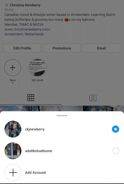 Instagram account picker