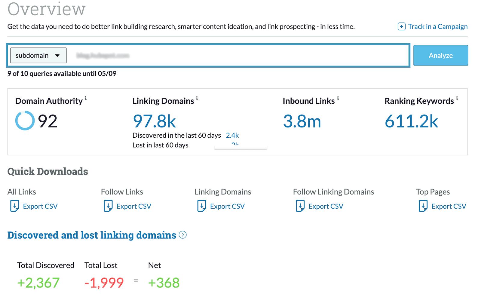 Moz backlink analysis tool