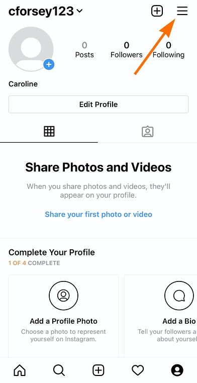 """The """"Settings"""" tool on Instagram in top-right"""