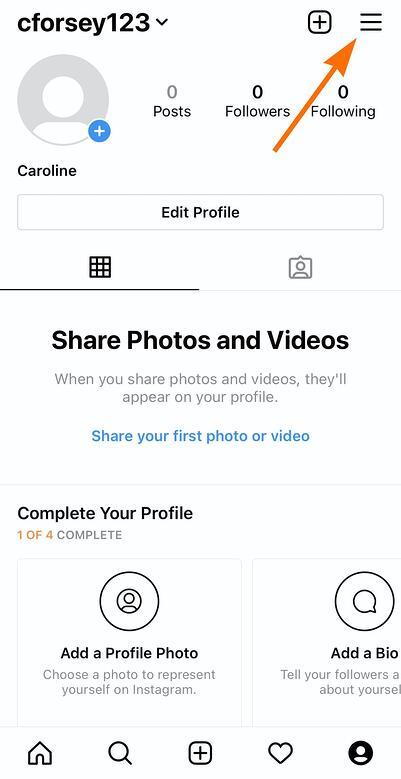Click Settings on Instagram in top-right-hand of your screen from within the Instagram app
