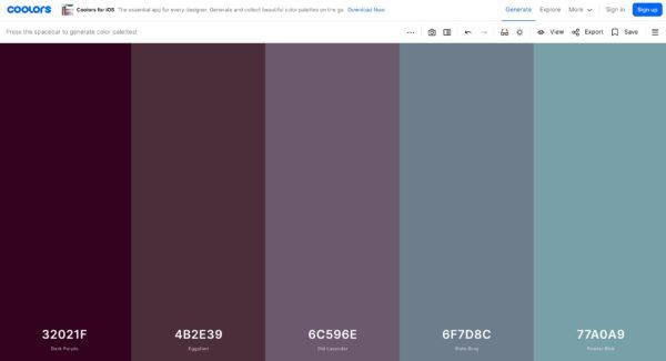 Coolors color palette generator