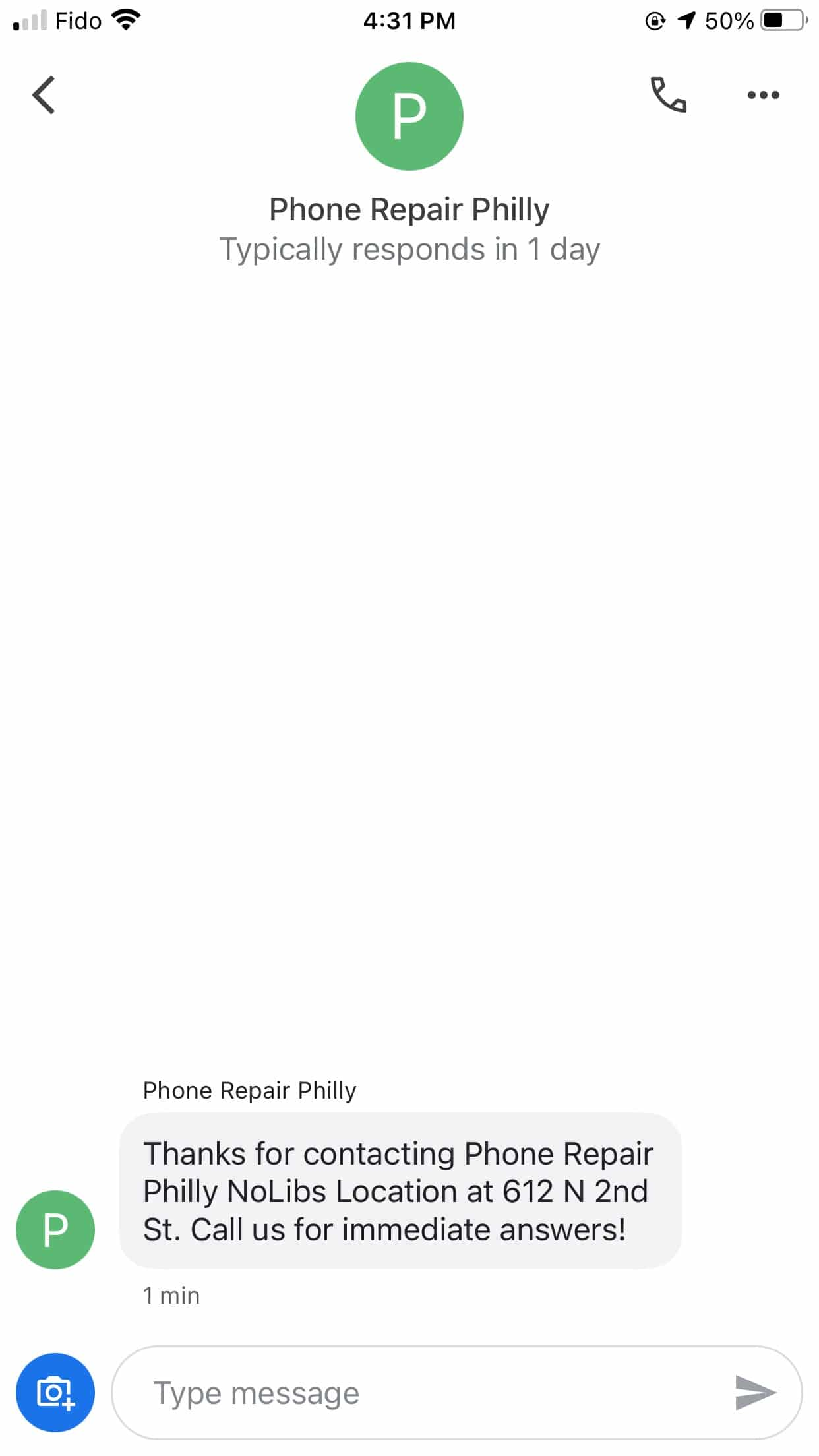 Phone Repair Philly welcome message