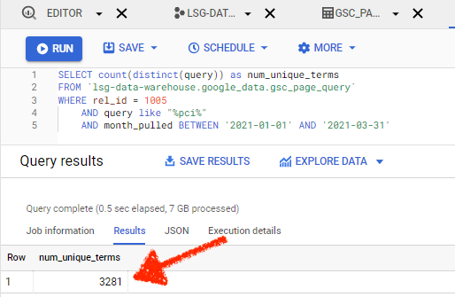 Google Search Console in Google Big Query