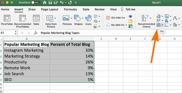 The pie chart tool in excel.
