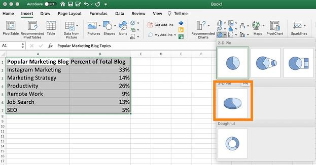 The 3-D option for pie charts in excel to create a 3-dimensional version.