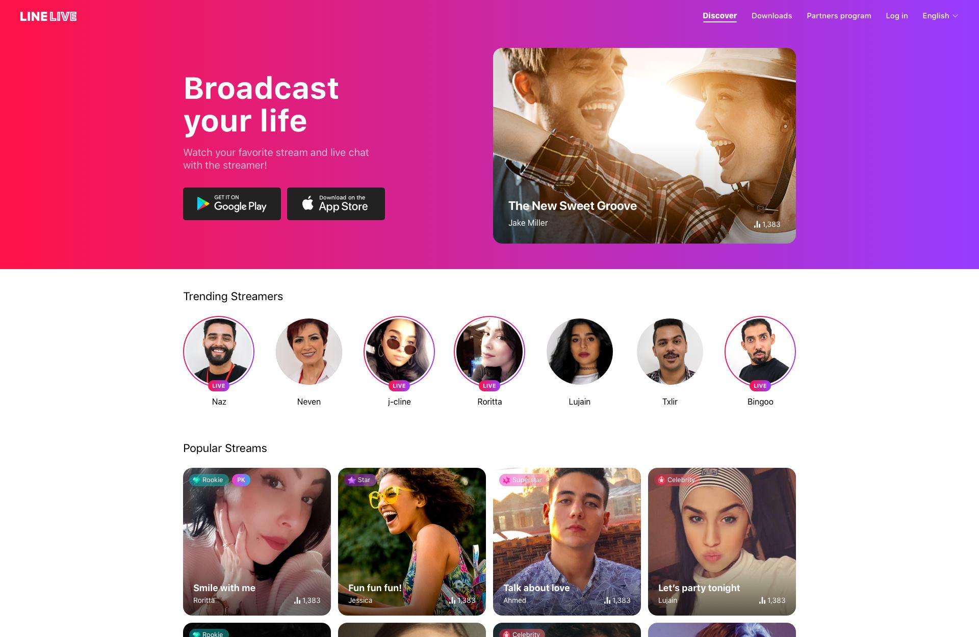line app trending streamers and popular streams