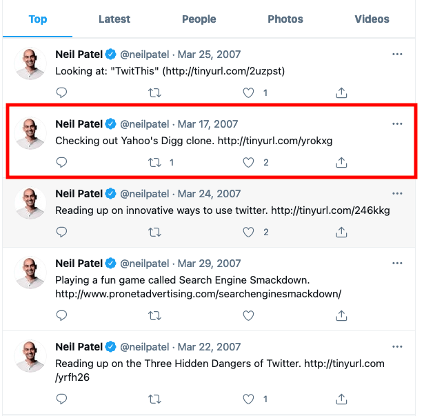 Old Tweets - Neil Patel example of finding first tweet