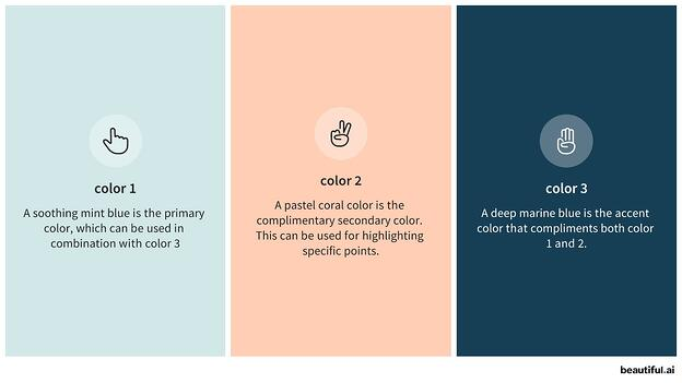 3 different color options that complement each other, all pastels (light blue, peach, and dark blue)