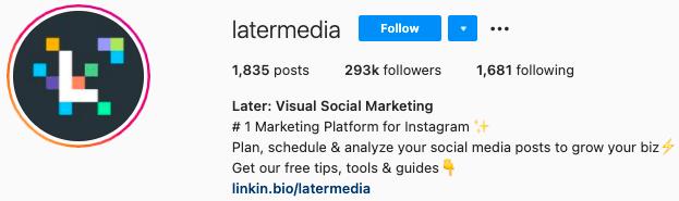 best Instagram bios - later instagram page bio