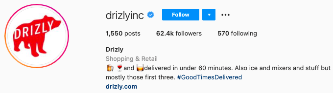 best Instagram bios - drizly instagram page bio