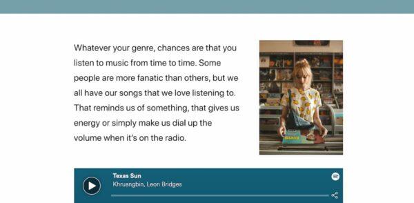 digital story on music columns block