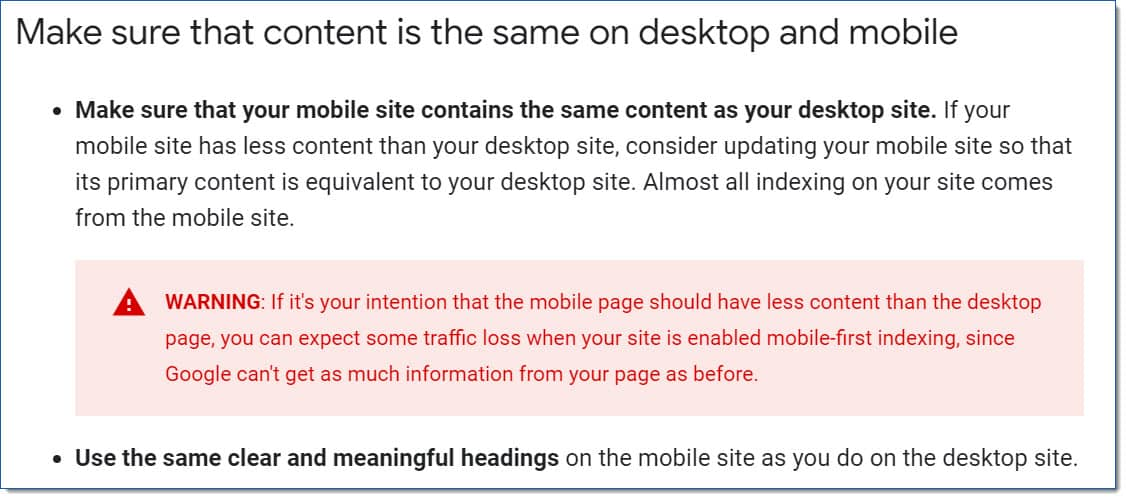 make sure mobile site experience is the same as desktop