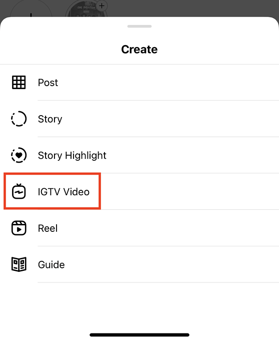 Create menu screen from instagram profile to upload an IGTV video