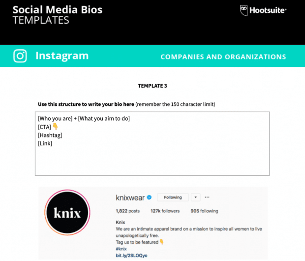 social media bio templates preview