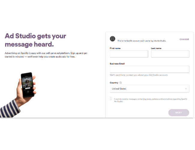 creating a spotify ads account