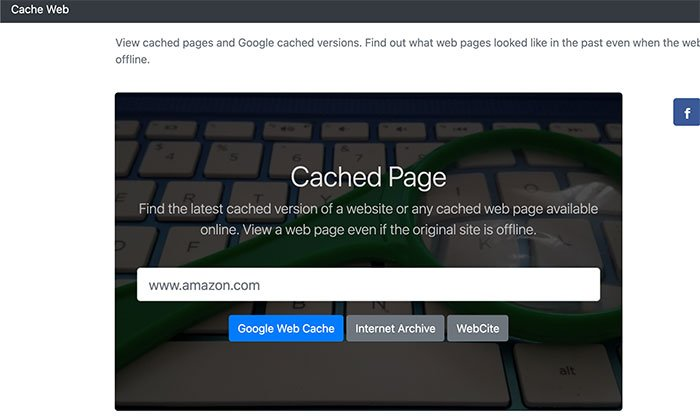 Use Cached Page Web Cache Viewer