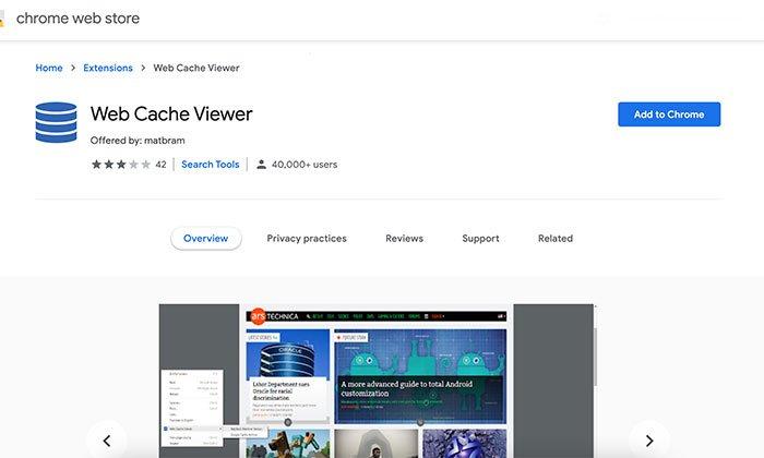 Web Cache Viewer - Chrome extension