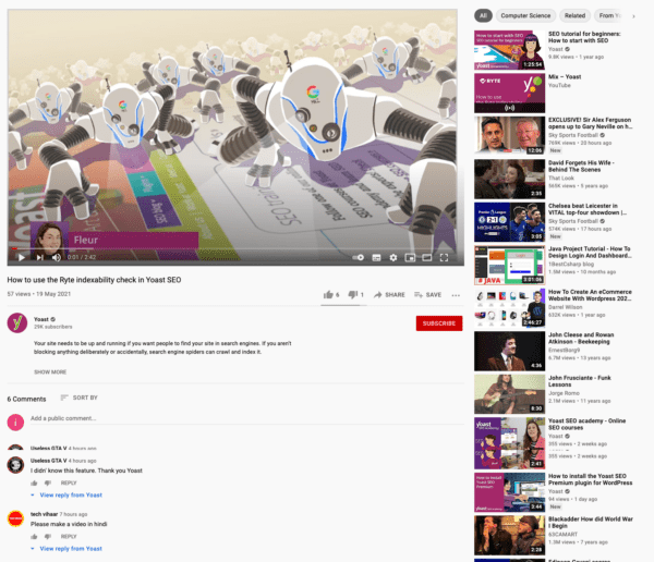 Example of a YouTube page where the video is the main focus