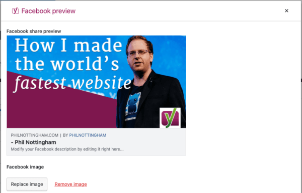 Add your video thumbnail as the OpenGraph image in the Facebook preview tab in Yoast SEO