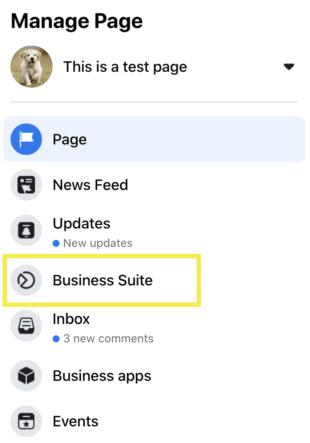 Facebook Page navigation menu
