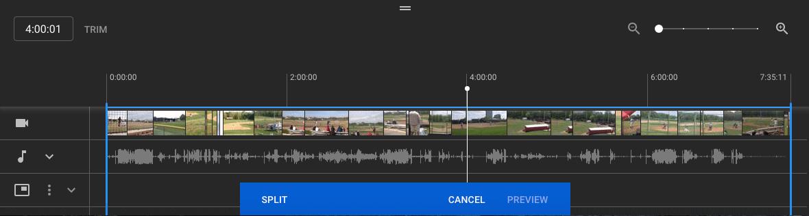 YouTube Studio Split Video