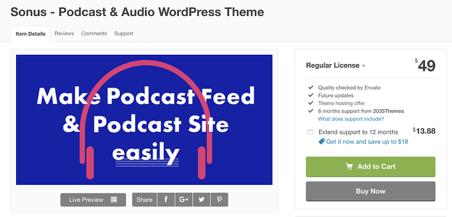 sonus wordpress theme for podcasts download page