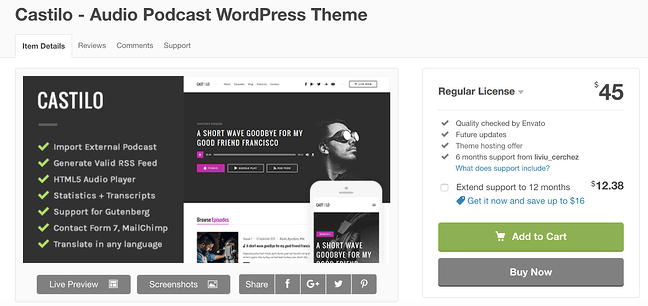 castilo  wordpress theme for podcasts download page