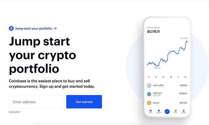 blockchain cryptocurrency company coinbase sign-up form