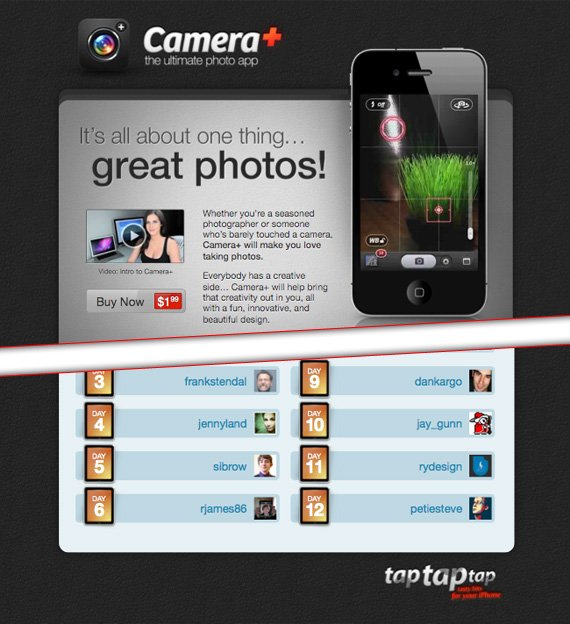 cameraplus landing page example