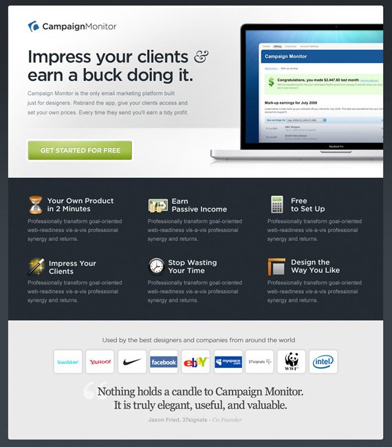 campaignmonitor landing page example