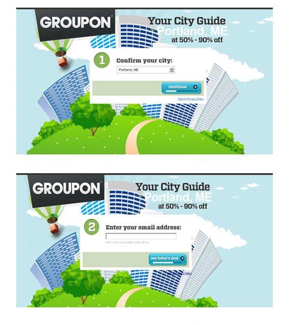groupon landing page example