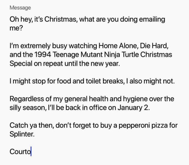 Holiday OOO message with movie marathon