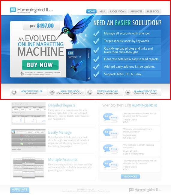 hummingbird landing page example