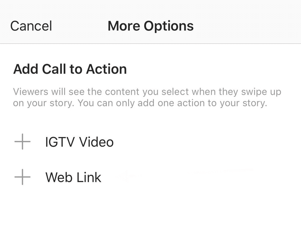 Add Call to Action IGTV Video or Web Link