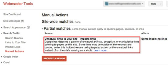 manual action unnatural links to your site message google disavow tool