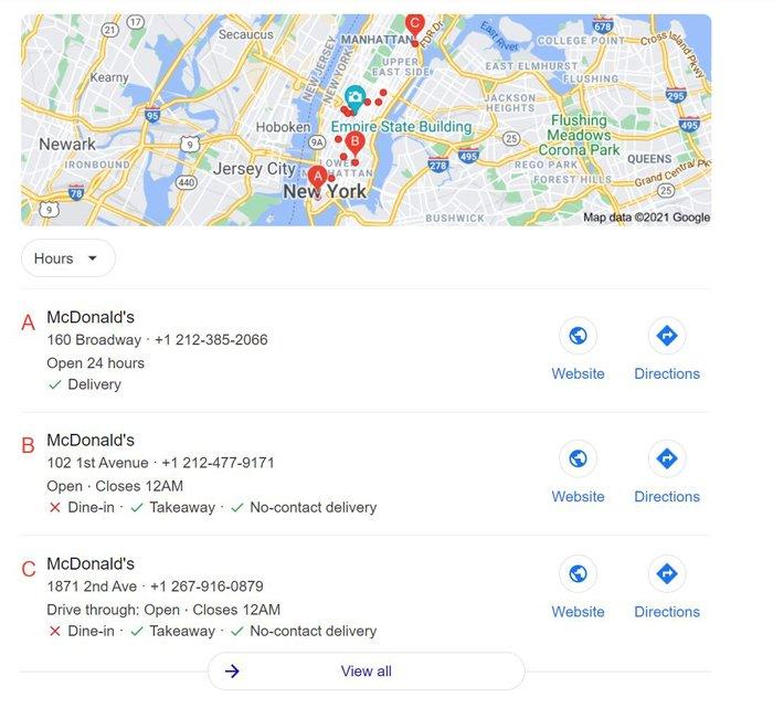 multiple location SEO mcdonalds new york