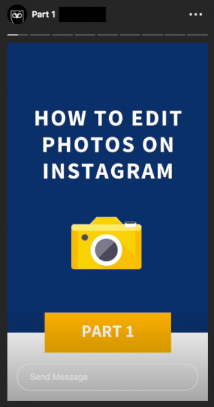 Screenshot of the Instagram Stories template that Hootsuite uses