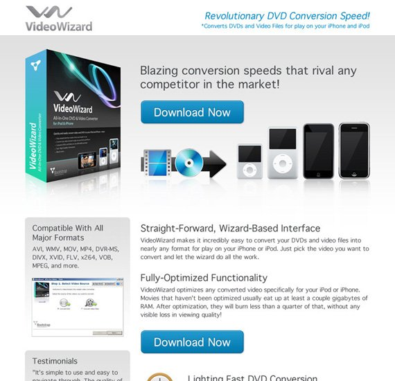 videowizard landing page example