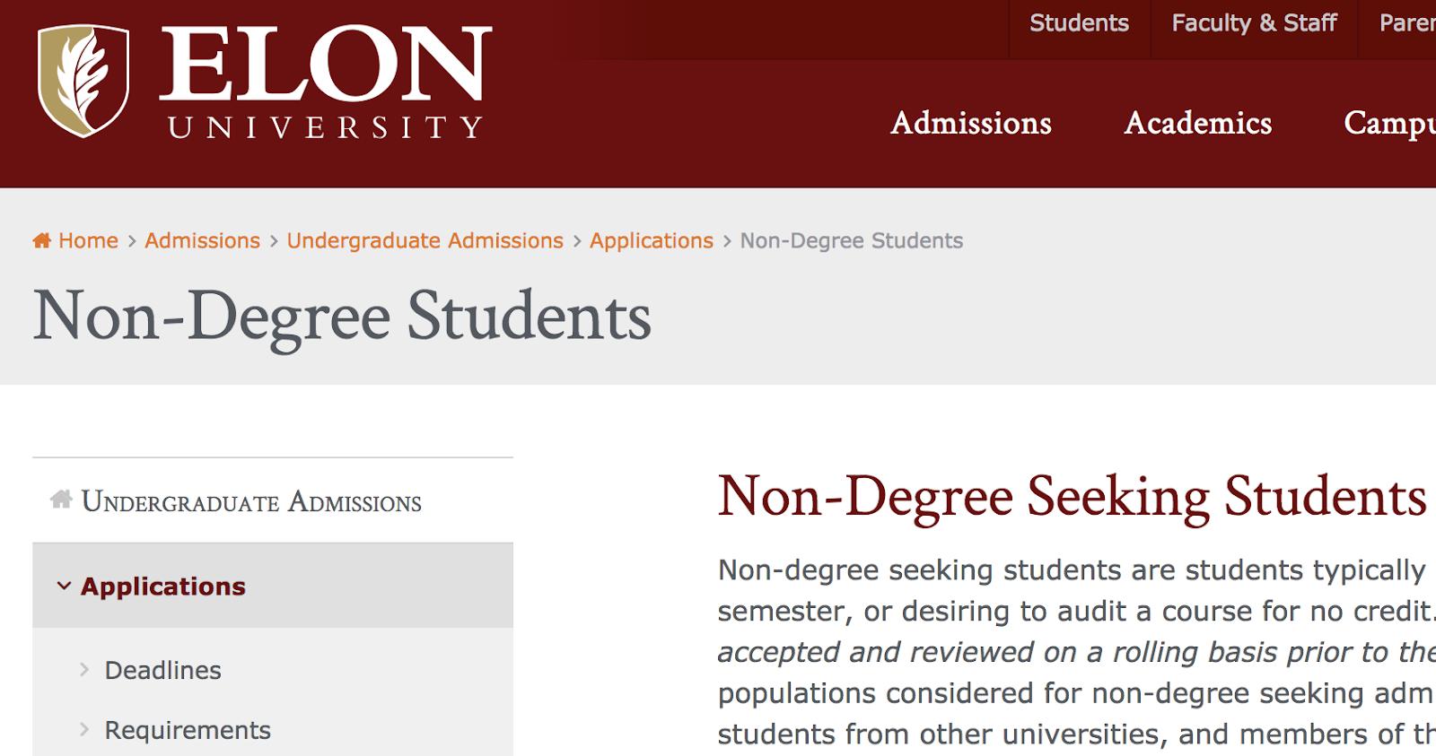 an example of breadcrumb navigation on the elon university website
