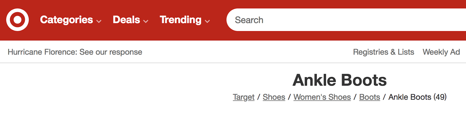 an example of breadcrumb navigation on the target website
