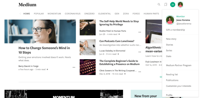How to Create Ads on Medium - Navigate to the Publications Options