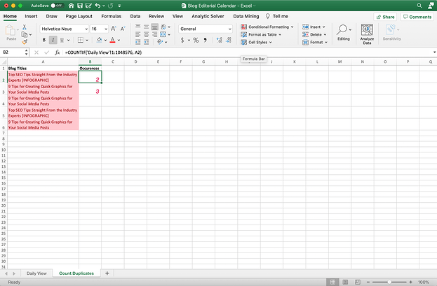 Excel doc with a count formula.