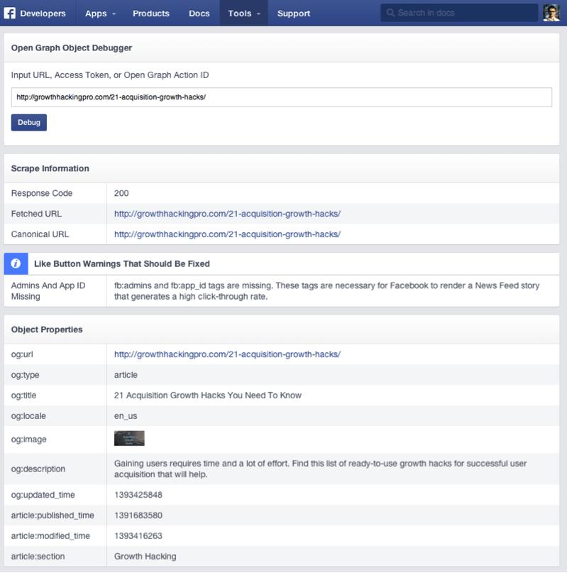 Facebook Object Debugger open graph meta tags