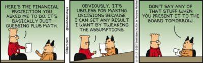 A Dilbert Cartoon Explaining False Precision, with humor