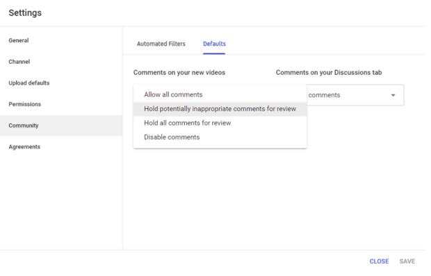 YouTube settings defaults