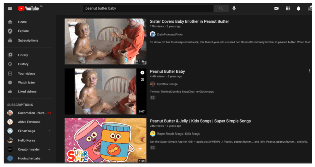 """YouTube search algorithm """"peanut butter baby"""""""