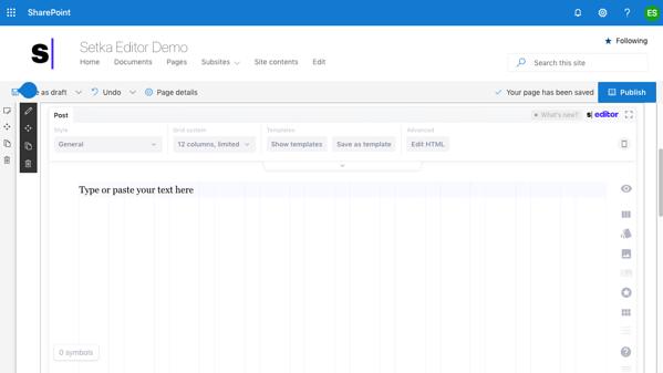 Setka editor user interface