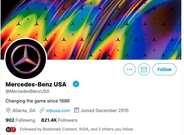 change twitter handle: Mercedes Benz USA Twitter profile